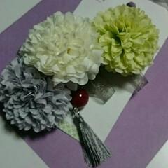 造花/和装用/和風/バレッタ/令和元年フォト投稿キャンペーン/おすすめアイテム/... 和装用にバレッタを。  髪が短いので飾り…