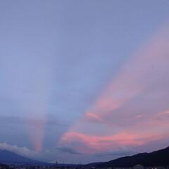 東の空に夕焼け/光の道/後光?/飛行機雲/梅雨明け初日/梅雨明け/... ご…後光?✴️  飛行機雲に夕焼けが反射…(2枚目)