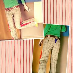 リメイク/ファッション/パンツコーデ/おしゃれ/最近のコーデ オーダー品です👖 ポイントの赤ラインがオ…