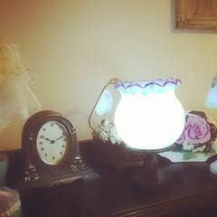 落ち着く~/癒し/灯す/灯りっていいな♪/手作り/ランプシェード/... すずらんランプを上向きにしてみたよ🎶 こ…