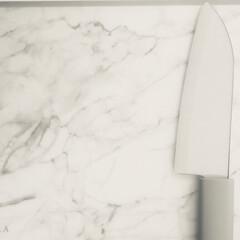 カインズホーム/大理石調まな板/セラミック包丁/キッチン/キッチン雑貨 まな板と包丁買い替え🔪💗 ずっと欲しかっ…