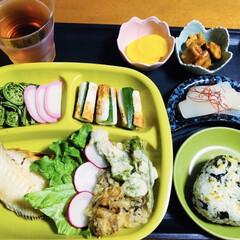 地元食材/焼き魚/山菜料理/我が家の夕食/おうちごはん/100均/... 🍚我が家の夕食🥢 焼き魚(赤魚) タラの…