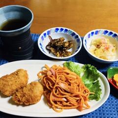 ポテトコロッケ/ナポリタン/我が家の夕食 🍚我が家の夕食🥢 ナポリタン。 コロッケ…