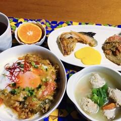 鮭カマ/ごぼう人参味噌炒め/すり身スープ/かき揚げ卵丼/我が家の夕食/おうちごはん/... 🍚我が家の夕食🥢 かき揚げ卵丼。 ホッケ…