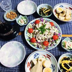 うまい村デイリー 旭松 新 あさひ豆腐 ポリ 5個 x10(即席みそ汁、吸い物)を使ったクチコミ「🍚昨夜の夕食🥢 冷しゃぶ。 高野豆腐・長…」