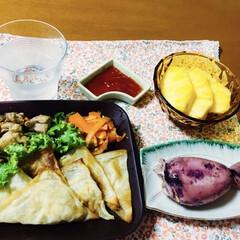 我が家の夕食/鶏肉ピーマン炒め/パイナップル/イカ飯/人参しりしり/三角春巻き/... 🍚我が家の夕食🥢 三角春巻き。 イカ飯🦑…