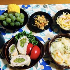肉巻き/ぶどう/ご飯/フォロー大歓迎/食欲の秋 🍚我が家の夕食🥢 さやいんげん肉巻き🥓 …