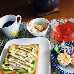ブルマンコーヒー/きな粉ヨーグルト/さくらんぼゼリー/オープンサンド/ハム/アボカドレシピ/... 🍞我が家の朝ゴパン☕️ アボカド・ハムマ…