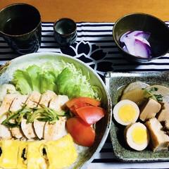 煮物/棒棒鶏/我が家の夕食/limiaキッチン同好会/セリア/100均/... 🍚我が家の夕食🥢 棒棒鶏風。 海苔入の卵…