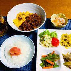 食用菊/タラコ/ミョウガ/晴天の霹靂/新米/ご飯/... 🍚我が家の夕食🥢 新米の晴天の霹靂にタラ…