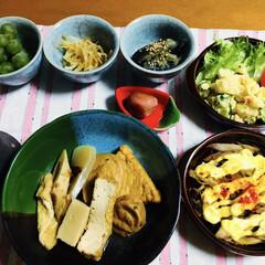 ミョウガの味噌マヨ焼き/夕食/ポテトサラダ/お煮しめ/ご飯/朱色/... 🍚我が家の夕食🥢 お煮しめ。 ミョウガの…