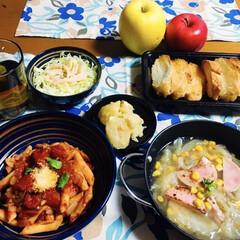 ハインツ トマトケチャップ逆さボトル460g ハインツ日本(その他キッチン、日用品、文具)を使ったクチコミ「🍽我が家の夕食🍽 ペンネ🍅ソース。 魚肉…」
