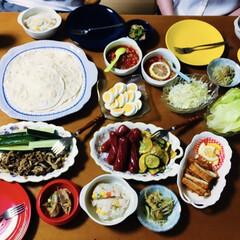 我が家の夕食/タコス/トルティーヤ/業務スーパー/スタミナご飯/ミックスベジタブルの炊き込みご飯 🌮我が家の夕食🍴 トルティーヤでタコス🌮…
