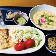 レンチン料理/鶏肉カレー味/カリフラワー/茶碗蒸し/揚げないフライ/アジフライ/... 🍚我が家の夕食🥢 揚げないアジフライ。 …