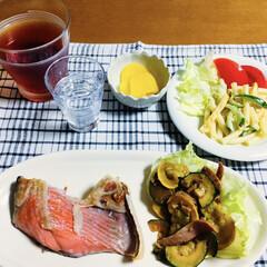 マカロニサラダ/ズッキーニ炒め/鮭/セリア/100均/フォロー大歓迎/... 🍚我が家の夕食🥢 焼き魚(鮭) ズッキー…
