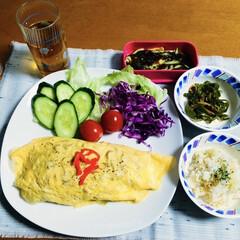 炊き込みごはん/ランチョンマット/野菜オムレツ/100均/フォロー大歓迎/我が家のテーブル 🍚我が家の夕食🥢 野菜オムレツ🥚 大根・…