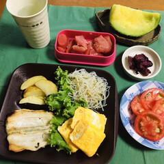 我が家の夕食/メロン/たらこ/しば漬け/フライドポテト/春雨珍味和え/... 🍚我が家の夕食🥢 焼き魚(ホッケ) 卵焼…
