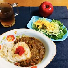 ゴールデンカレー/かぼちゃサラダ/我が家の夕食/カレーライス/セリア/100均 🍛我が家の夕食🥄 久しぶりにカレーライス…