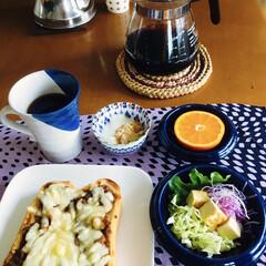 きな粉ヨーグルト/ランチョンマット/キリマンジャロコーヒー/残り物活用/カレーピザトースト/我が家の朝ゴパン/... 🍞我が家の朝ゴパン☕️ カレーピザトース…