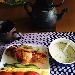 クノール カップスープ バラエティボックス / クノール(スープ)を使ったクチコミ「🥐我が家の朝ゴパン☕️ クロワッサン 卵…」