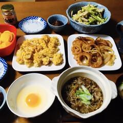 山菜/コーン天/オニオンリング/我が家の夕食/腸活中/すき焼き風 🍚我が家の夕食🥢 すき焼きもどき。 オニ…(1枚目)