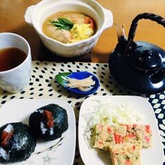 鮭鍋/1人鍋/お正月2020/セリア/100均/フォロー大歓迎 🍚我が家の夕食🥢 鮭鍋。 紅生姜入お好み…
