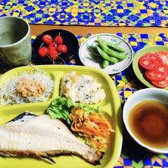 さくらんぼ/しめじ天ぷら/地元食材/焼き魚/我が家の夕食/スタミナご飯/... 🍚我が家の夕食🥢 焼き魚。 しめじ天ぷら…