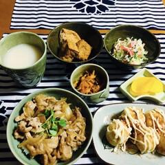 エバラ 生姜焼のたれ 230g 1セット | エバラ食品(たれ)を使ったクチコミ「🍚我が家の夕食🥢 豚丼。 たこ焼き。 た…」(1枚目)