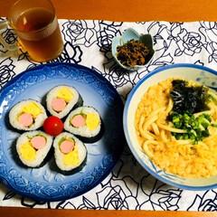 讃岐 ざるうどん 200g×12袋(カクテル)を使ったクチコミ「📍昨夜の夕食🥢 冷汁うどん。 太巻き寿司…」