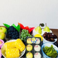 十五夜用のお皿/十五夜/雑貨/フォロー大歓迎/LIMIAファンクラブ/LIMIAスイーツ愛好会/... 🌕息子の買い物✨ 息子に十五夜用の果物な…