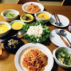息子手料理/洋風茶碗蒸し/ポテトサラダ/卵スープ/ナポリタン/我が家の夕食/... 🍝我が家の夕食🥢 帰ったら息子が夕食作っ…
