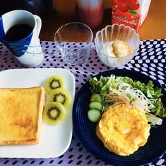きな粉ヨーグルト/時短フレンチトースト/セリア/100均/おすすめアイテム/食事情 🍞我が家の朝ゴパン☕️ フレンチトースト…