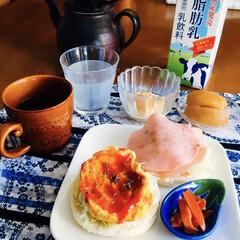 特別休暇中/マフィンサンド/きな粉ヨーグルト/我が家の朝ゴパン/おうちごはん/100均 🍔我が家の朝ゴパン☕️ 卵・ハムのマフィ…