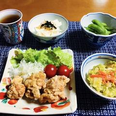長芋/野菜炒め/枝豆/唐揚げ/我が家の夕食/スタミナご飯 🍚我が家の夕食🥢 唐揚げ。 白菜・人参・…