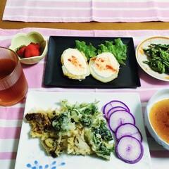 いちご/ロールケーキ/我が家の夕食/菜の花/舞茸/天ぷら/... 🍚我が家の夕食🥢 舞茸・菜の花天ぷら。 …