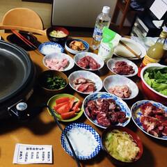 KNK 上北農産加工 スタミナ源塩焼きのたれ 380g(イカ惣菜、加工品)を使ったクチコミ「🍚我が家の夕食🥢 誕生日に行くはずだった…」(1枚目)