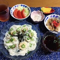 牛丼/素麺/100均/フォロー大歓迎/LIMIAファンクラブ/LIMIAごはんクラブ/... 🍚我が家の夕食🥢 オクラ・天ぷら素麺。 …
