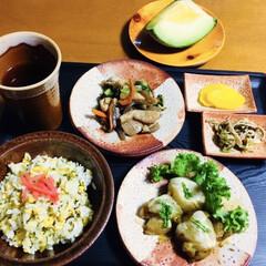 鳥肉料理/高菜卵炒飯/我が家の夕食/おうちごはん/タカミメロン 🍚我が家の夕食🥢 高菜漬け・卵の炒飯🥚 …