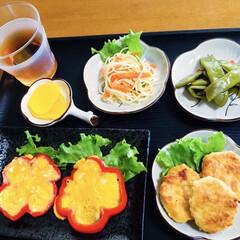 サラスパ/我が家の夕食/地元食材/ささぎ/チキンナゲット/パプリカ/... 🍚我が家の夕食🥢 パプリカ・卵焼き。 チ…