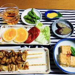 厚揚げ豆腐/玉ねぎリング卵/焼き鳥/セリア/100均/フォロー大歓迎/... 🍚我が家の夕食🥢 焼き魚。 厚揚げ・オク…