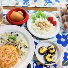 我が家の夕食/おうちごはん 🍚我が家の夕食🥢 チキンライス・パスタ・…(1枚目)