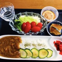 我が家の夕食/カレーライス/ズッキーニ/かぼちゃバター焼き 🍛我が家の夕食🥄 カレーライス。 サラダ🥗