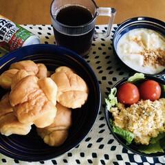 きな粉ヨーグルト/野菜ジュース/我が家の朝ゴパン 🥖我が家の朝ゴパン🍴 バターロール。 炒…