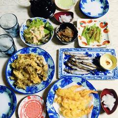 食器/我が家の夕食/キッチン雑貨/おうちごはん 🍚我が家の夕食🥢 海老・舞茸天ぷら。 し…
