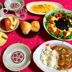 カレー/食器/LIMIAごはんクラブ/フォロー大歓迎/わたしのごはん/おうちごはんクラブ/... 🍛昨夜の夕食🥄 可愛い食器を頂いて…✌️…