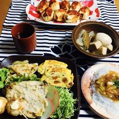 イワシの天ぷら/蓋付プレート/我が家の夕食/セリア/100均/お弁当のおかず&便利グッズ 🍚我が家の夕食🥢 イワシの天ぷら。 野菜…