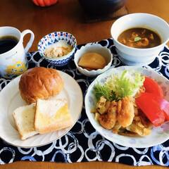 コーヒー豆/キリマンジャロ/十二穀パン/ポーチドエッグ/我が家の朝ゴパン/セリア/... 🍞我が家の朝ゴパン🥄 十二穀パン&トース…