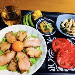 食器/カトラリー/キッチン雑貨/食卓/キッチンアイテム/枝豆/... 🍚我が家の夕食🥢 焼き豚丼。 冷やしトマ…(1枚目)