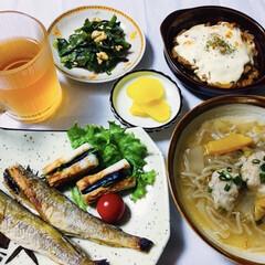 チーズ焼き/餡かけシュウマイ/ニラ玉/焼き魚/我が家の夕食/おうちごはん/... 🍚我が家の夕食🥢 焼き魚(氷下魚) ちく…
