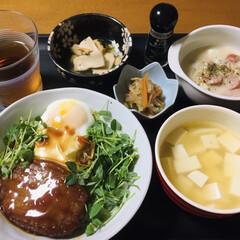 我が家の夕食/息子手料理/ロコモコ丼/おうちごはん/うちの定番料理 🍚我が家の夕食🥢 ロコモコ丼(息子作) …